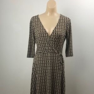 Chesley M Dress, Brown with Geometric Pattern